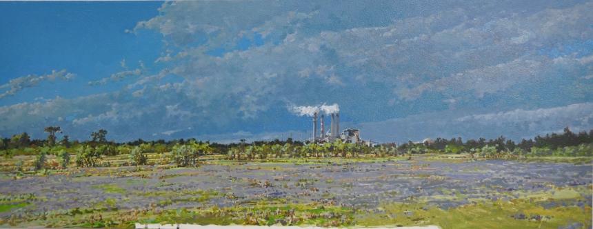 """TECO Plant, Apollo Beach Oil/Panel 12"""" X 40"""" 2-09"""