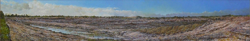 "Mira Lakes Pit  18"" X 96"" Oil/Panel 2007"
