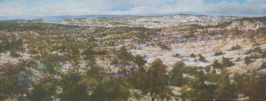 """Escalante Gap"" Oil/Panel 12"" X 36"" 2007"
